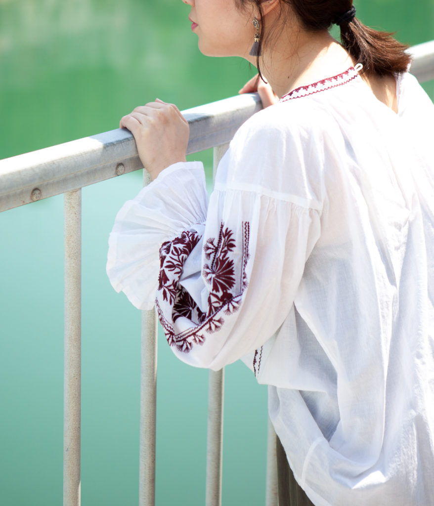 ne Quittez pas ヌキテパ cotton voil embroidery top 刺繍ブラウス