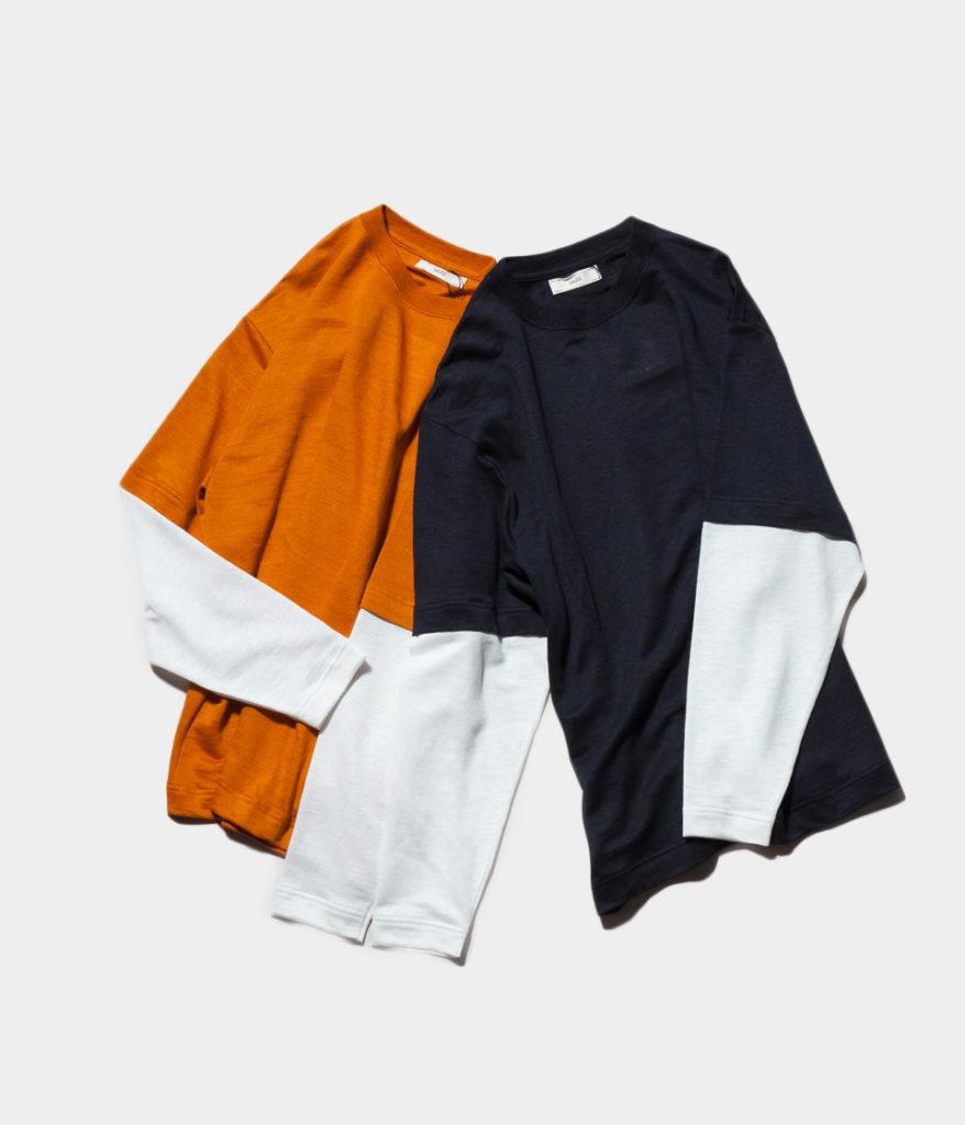 unfil アンフィル linen-terry layered tee レイヤードロングスリーブTシャツ