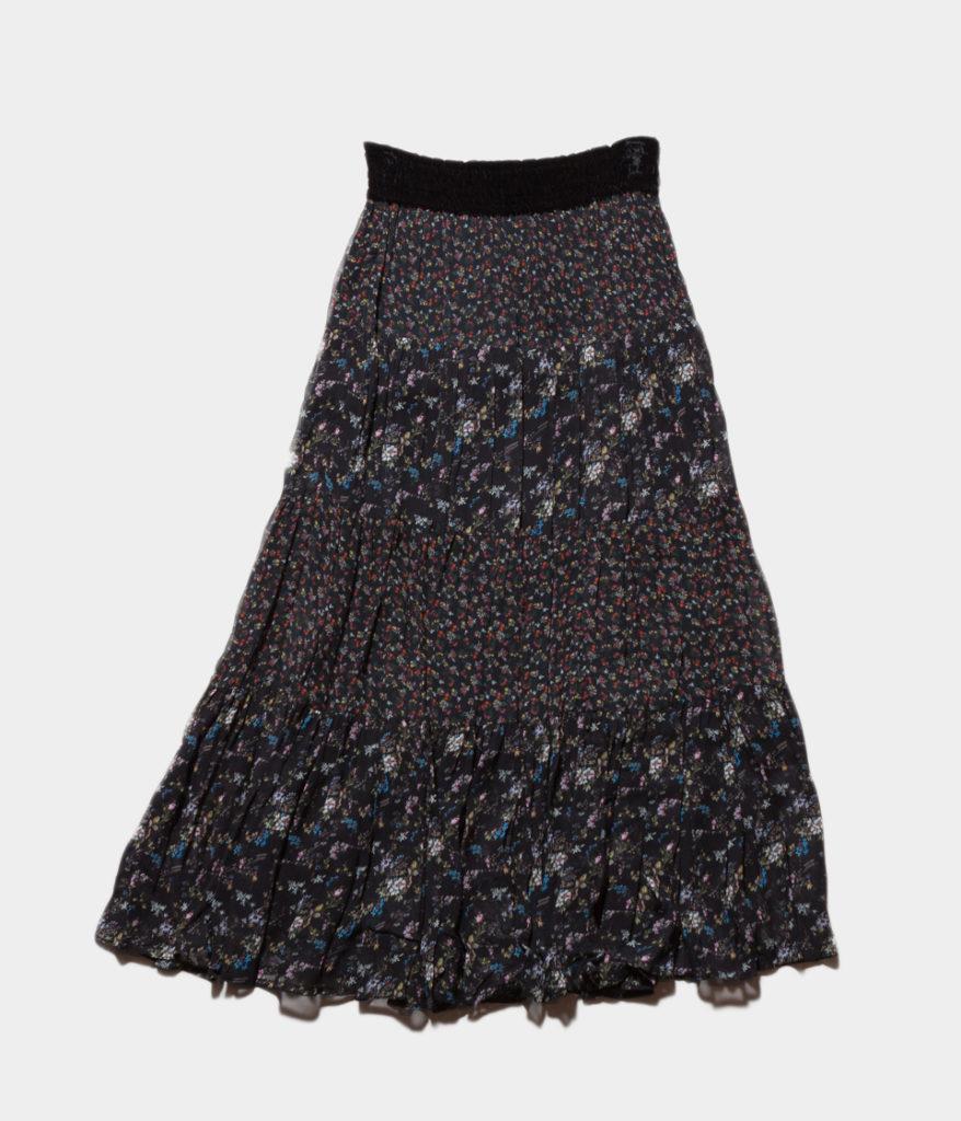 ne Quittez pas ヌキテパ georgette flower panel long skirt ジョーゼットフラワーパネルロングスカート