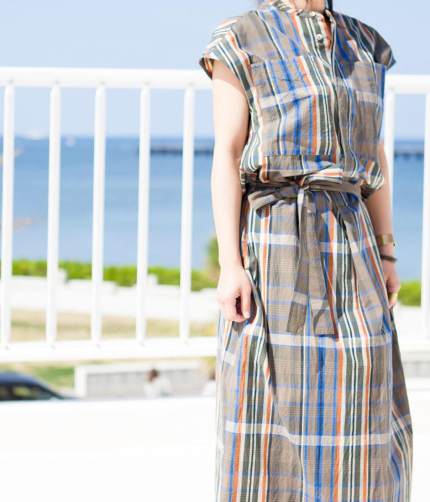 unfil アンフィル 19SS ストライプノースリーブドレス