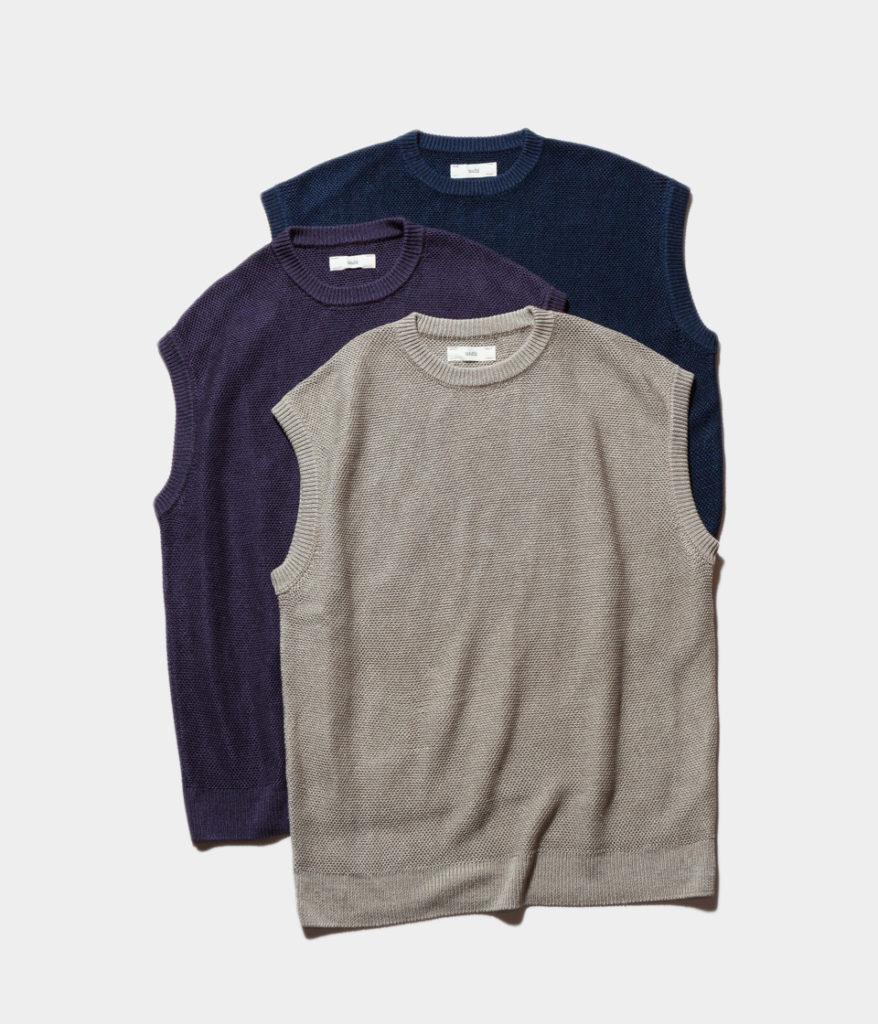 unfil 19ss アンフィル french linen honeycomb-knit vest リネンニットベスト