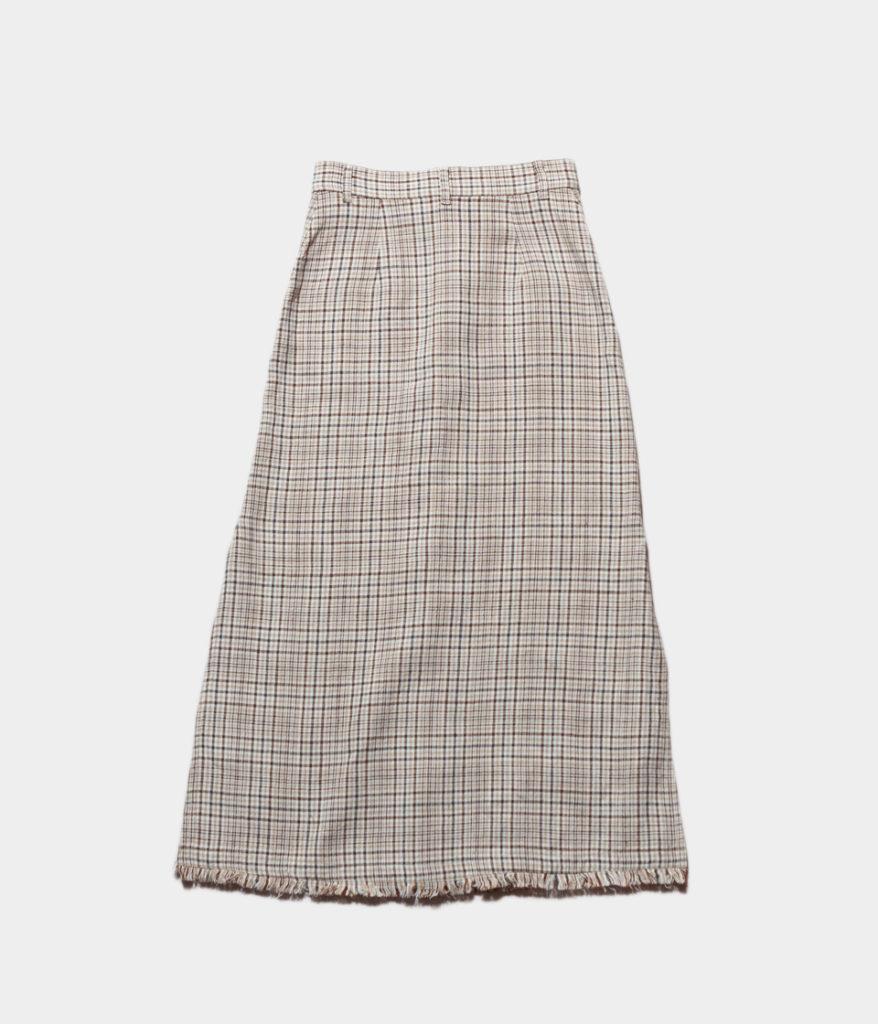 PHEENY フィーニー 19SS Linen check long skirt リネンチェックロングスカート