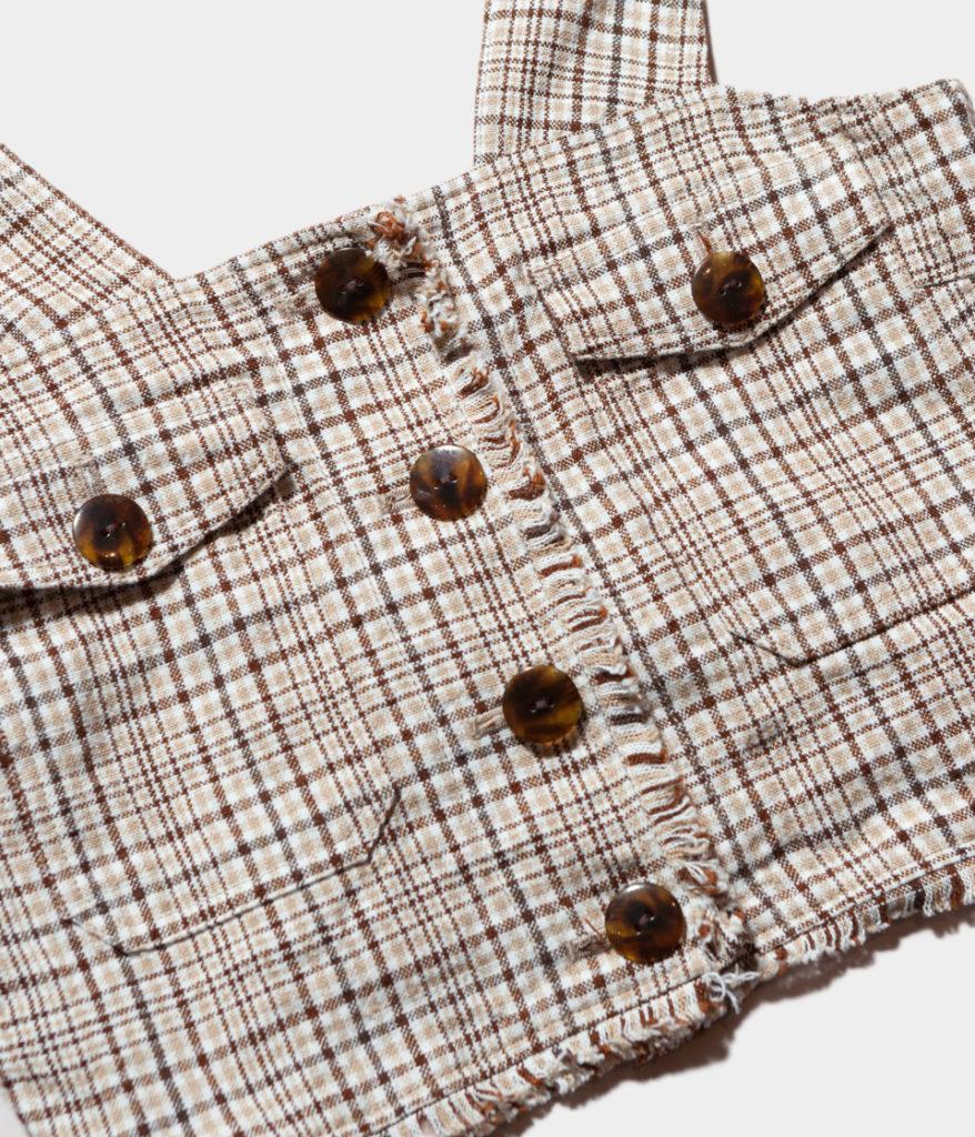 PHEENY フィーニー 19SS Linen check camisole tops リネンチェックキャミソールトップ