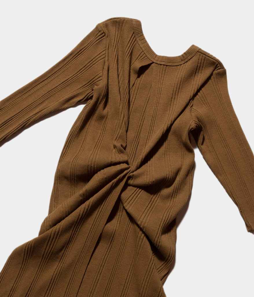 PHEENY フィーニー 19SS Random rib back drape S/S ランダムリブバックドレープショートスリーブ