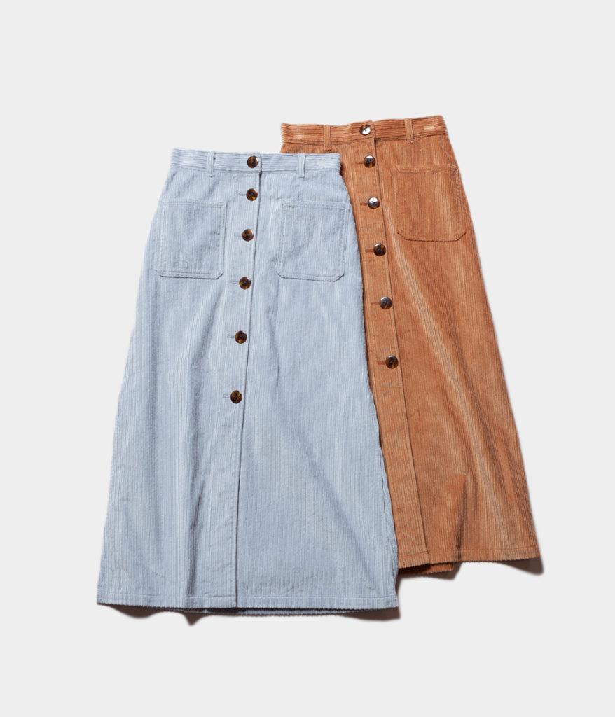 PHEENY フィーニー 19AW 通販 Corduroy button-down skirt コーデュロイスカート