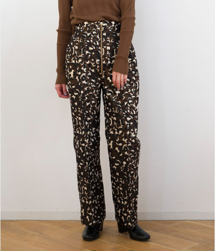 PHEENY フィーニー 19AW Leopard jacquard high waist slacks レオパードジャガードスラックス