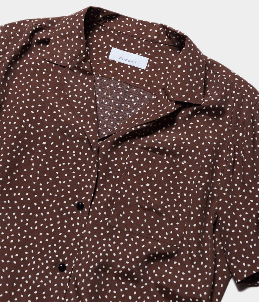 PHEENY フィーニー 20SS Rayon dot open collar shirt shirt レーヨンドットオープンカラーシャツ