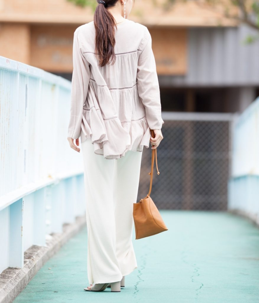 ne Quittez pas ヌキテパ cotton voile tiered top Vネックティアードブラウス