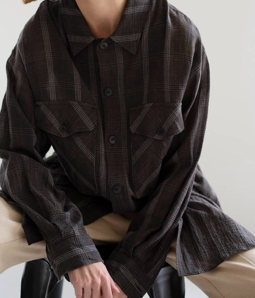 unfil アンフィル 20SS cotton & linen-georgette oversized shirt