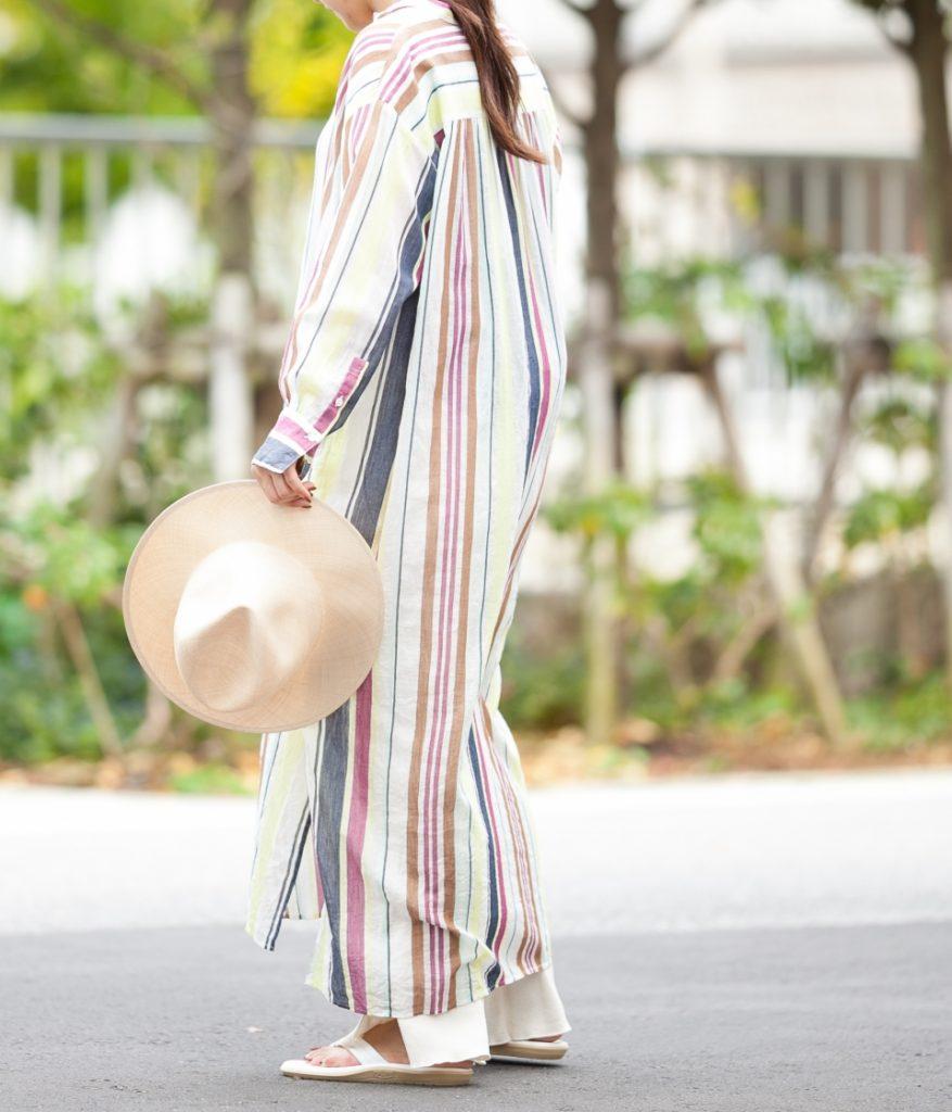 ne Quittez pas ヌキテパ voile stripe shirts dress ボイルストライプシャツドレス