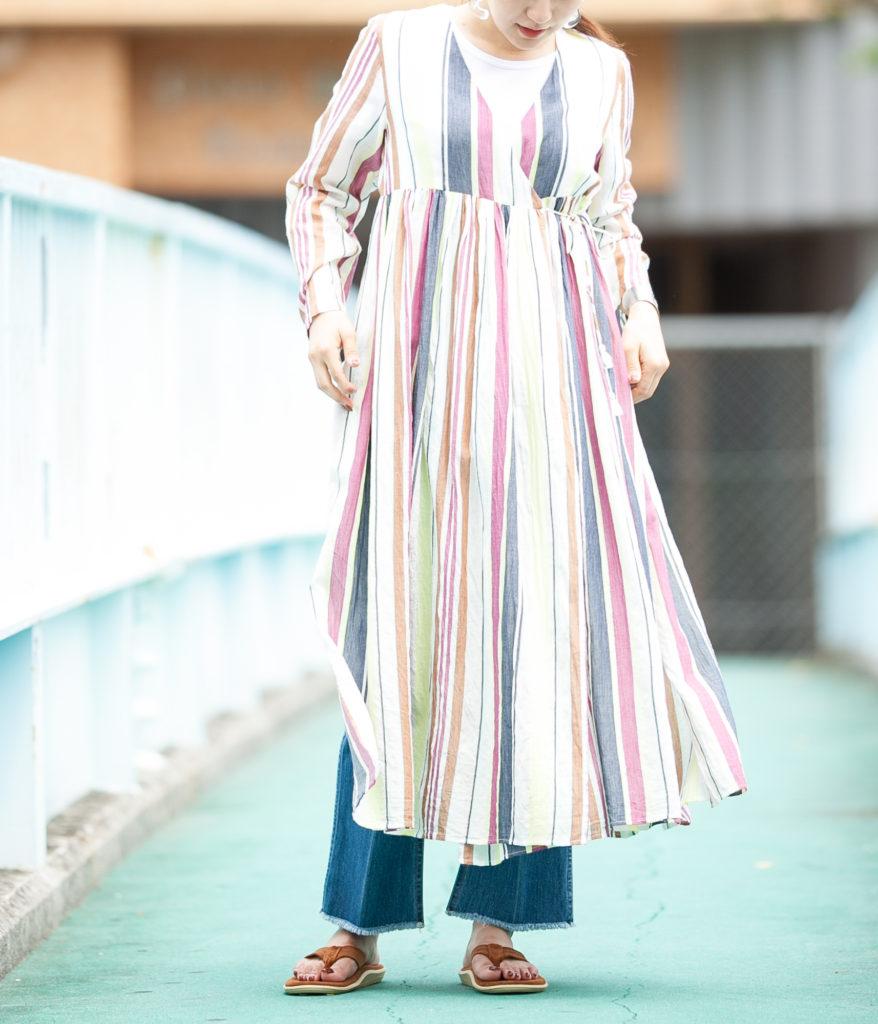 ne Quittez pas ヌキテパvoile stripe gown ボイルストライプガウン