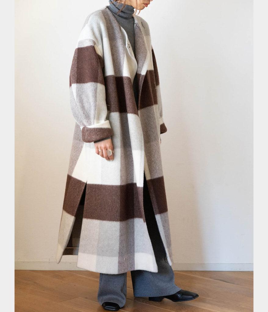 PHENNY フィーニー Big block check gown coat
