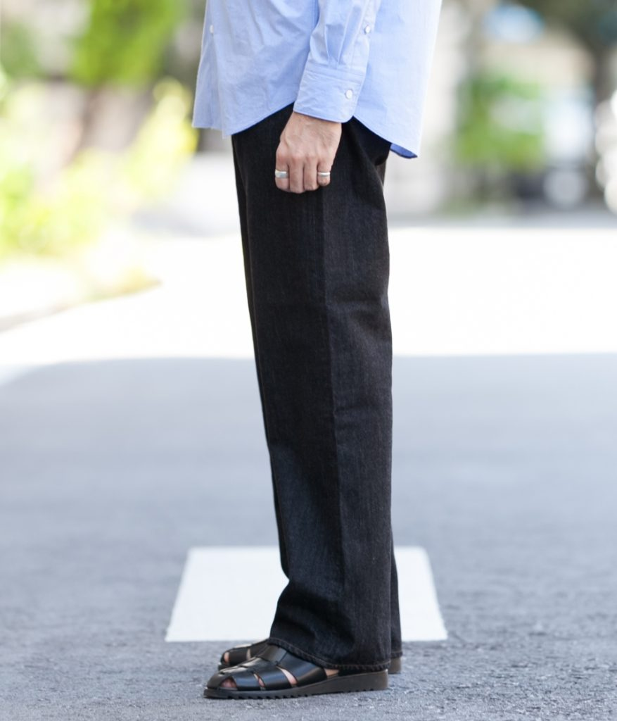 SCYE サイ SCYE BASICS サイベーシックス Selvage Black Denim Loose Fit Straight Jeans セルビッジ ブラックデニム