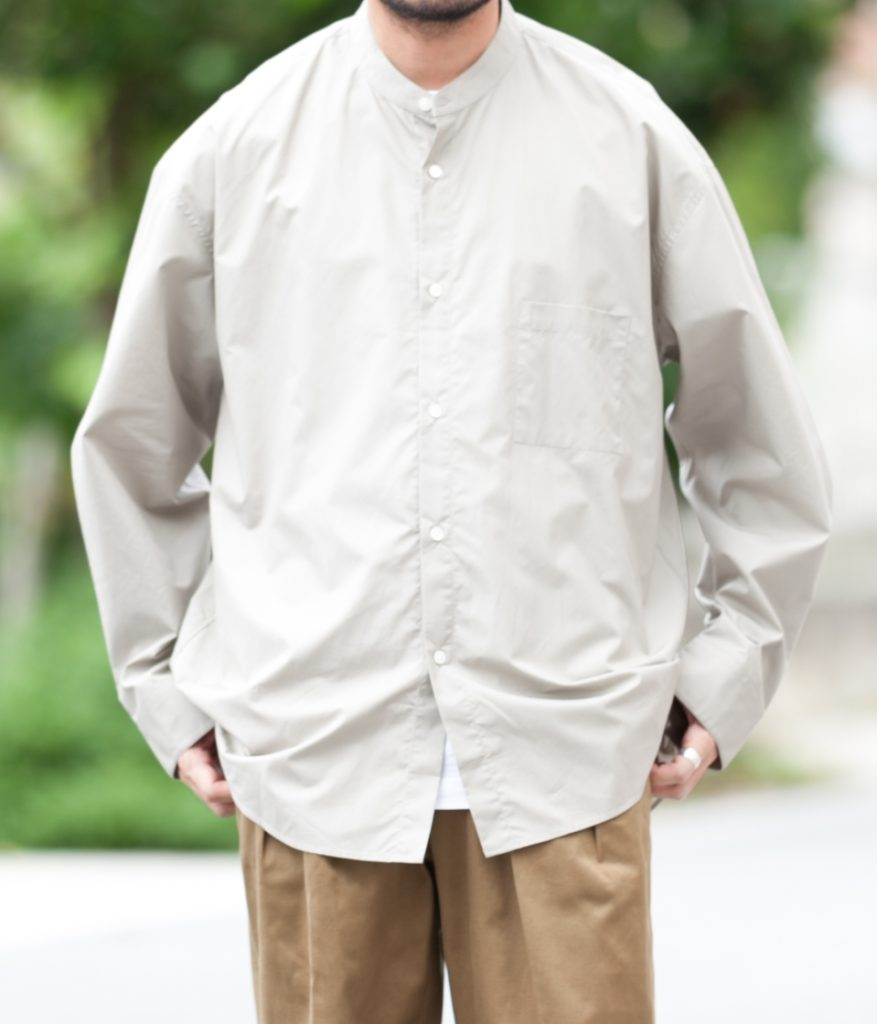 stein シュタイン 20AW OVERSIZED BAND COLLAR SHIRT オーバーサイズバンドカラーシャツ