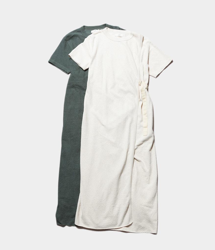 unfil アンフィル vintage cotton-pile belted T-shirt dress ヴィンテージコットンパイルベルテッドTシャツドレス