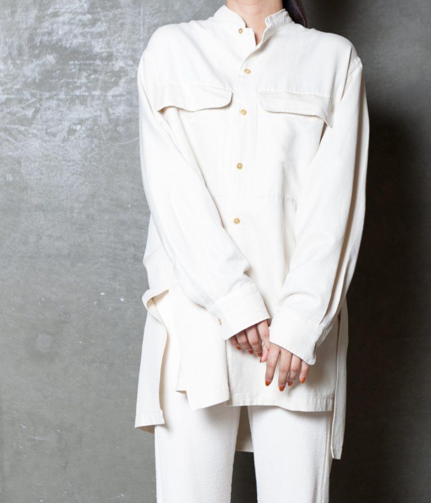 unfil アンフィル silk cotton twill stand collar shirt シルクコットンツイルスタンドカラーシャツ