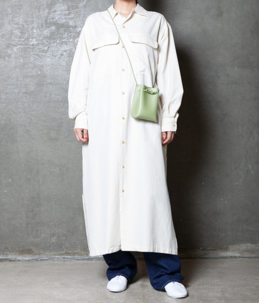 unfil アンフィル silk cotton twill open collar shirt dress シルクコットンツイルオープンカラーシャツドレス