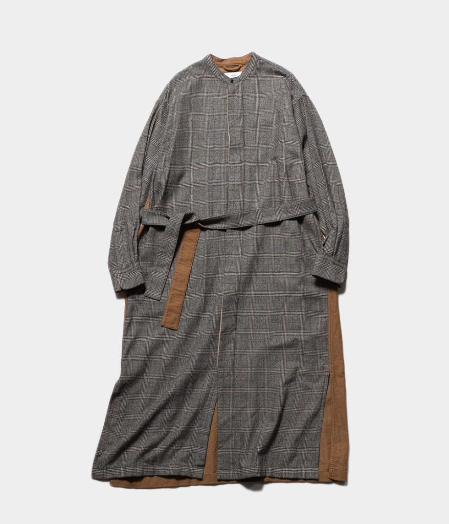 unfil アンフィル geelong lambs-flannel band collar dress ジロンラムウールフランネルバンドカラードレス