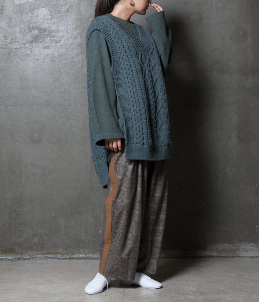 unfil アンフィル french merino cable-knit vest フレンチメリノケーブルニットベスト