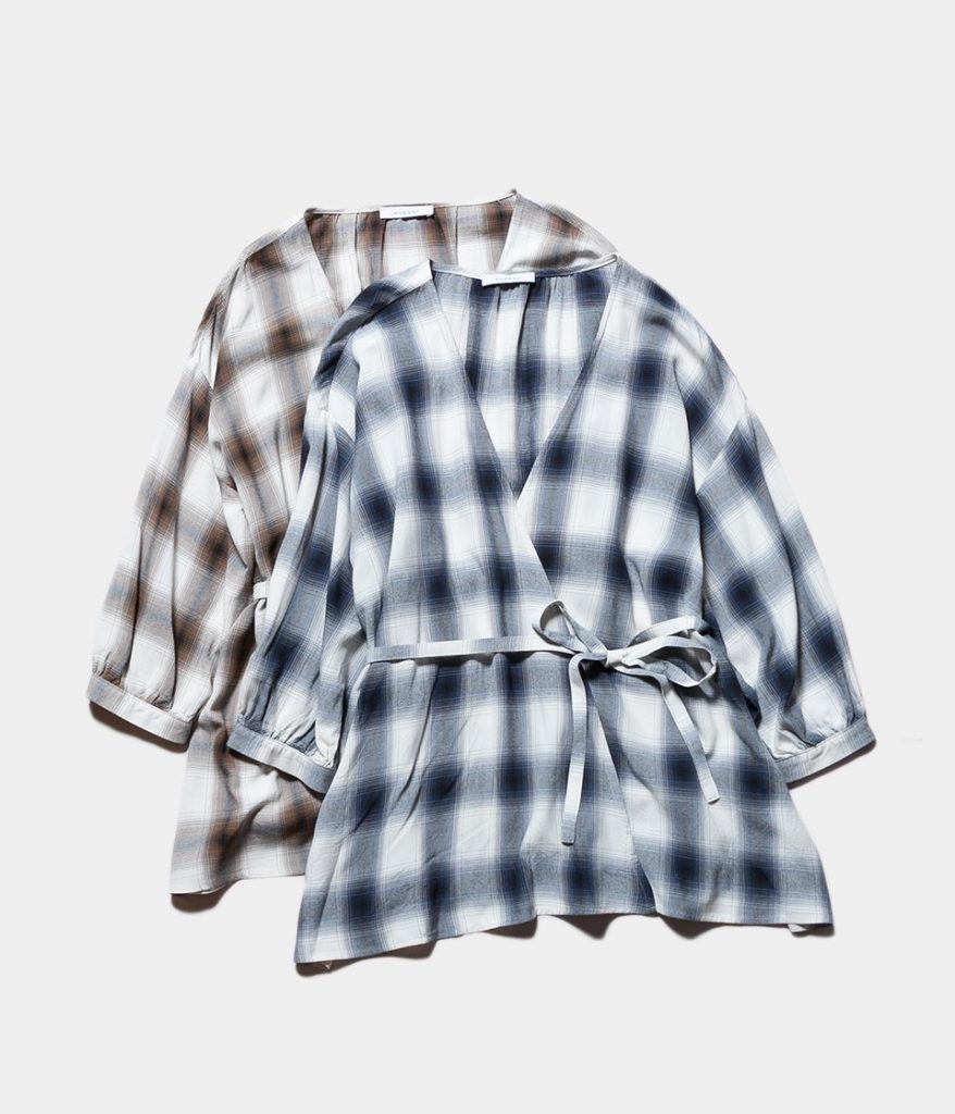 PHEENY フィーニー Rayon ombre check cache-coeur shirt レーヨンオンブレチェックカシュクールシャツ