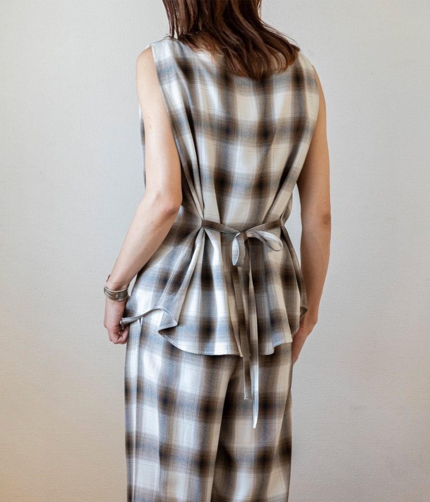PHEENY フィーニー Rayon ombre check sleeveless shirt レーヨンオンブレチェックスリーブレスシャツ