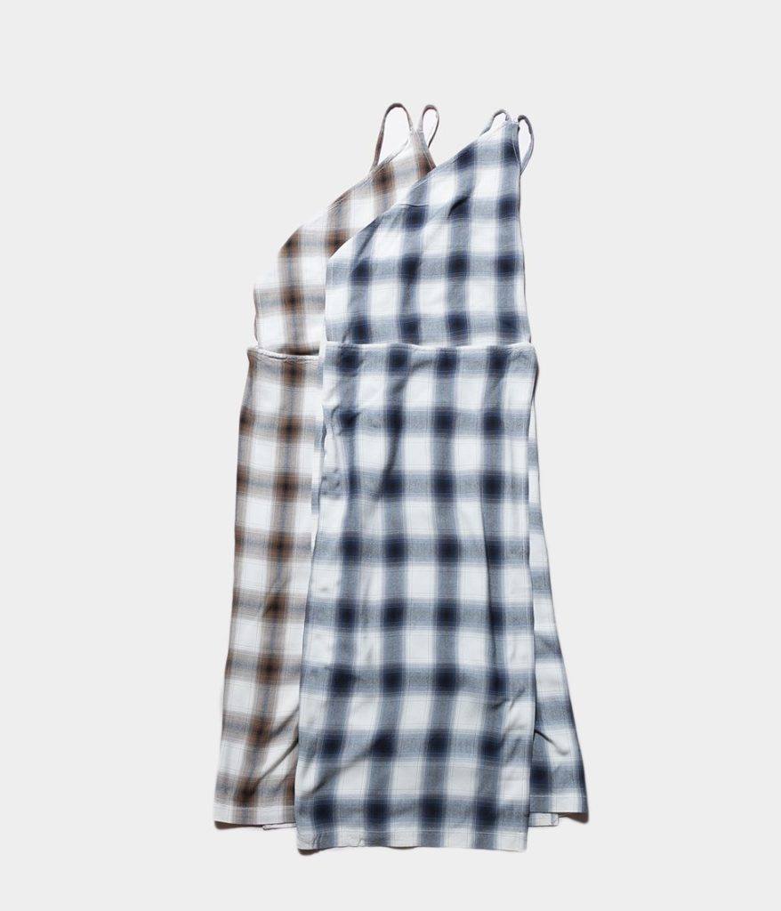 PHEENY フィーニー Rayon ombre check apron dress レーヨンオンブレチェックエプロンドレス
