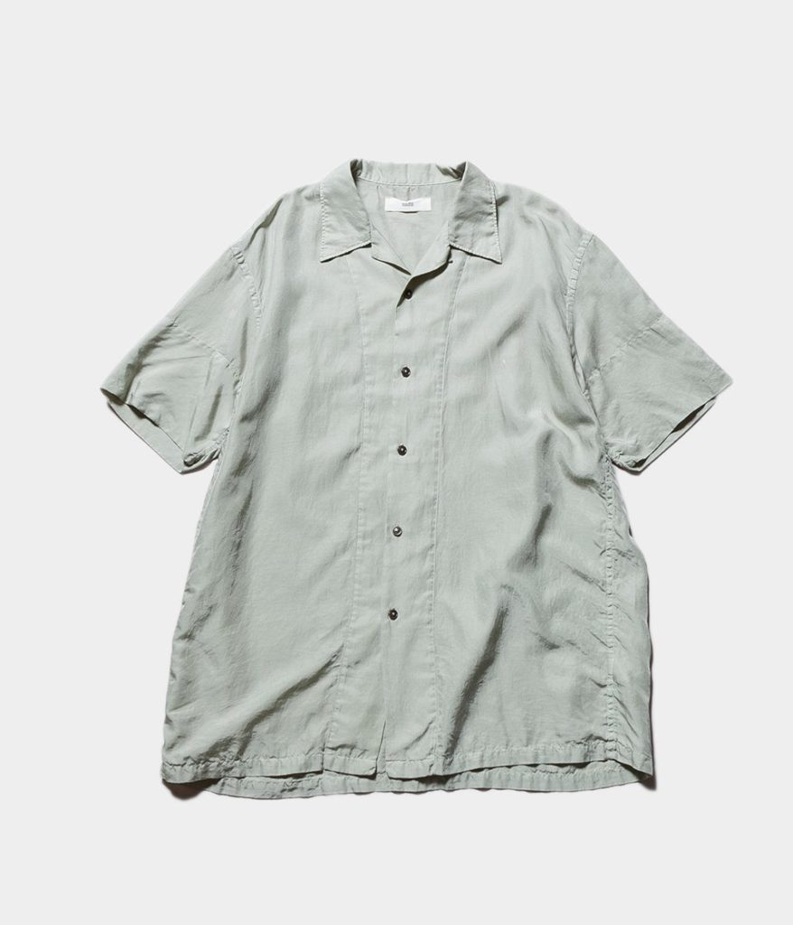 unfil アンフィル cotton & silk-twill short sleeve shirts コットンシルクツイルショートスリーブシャツ