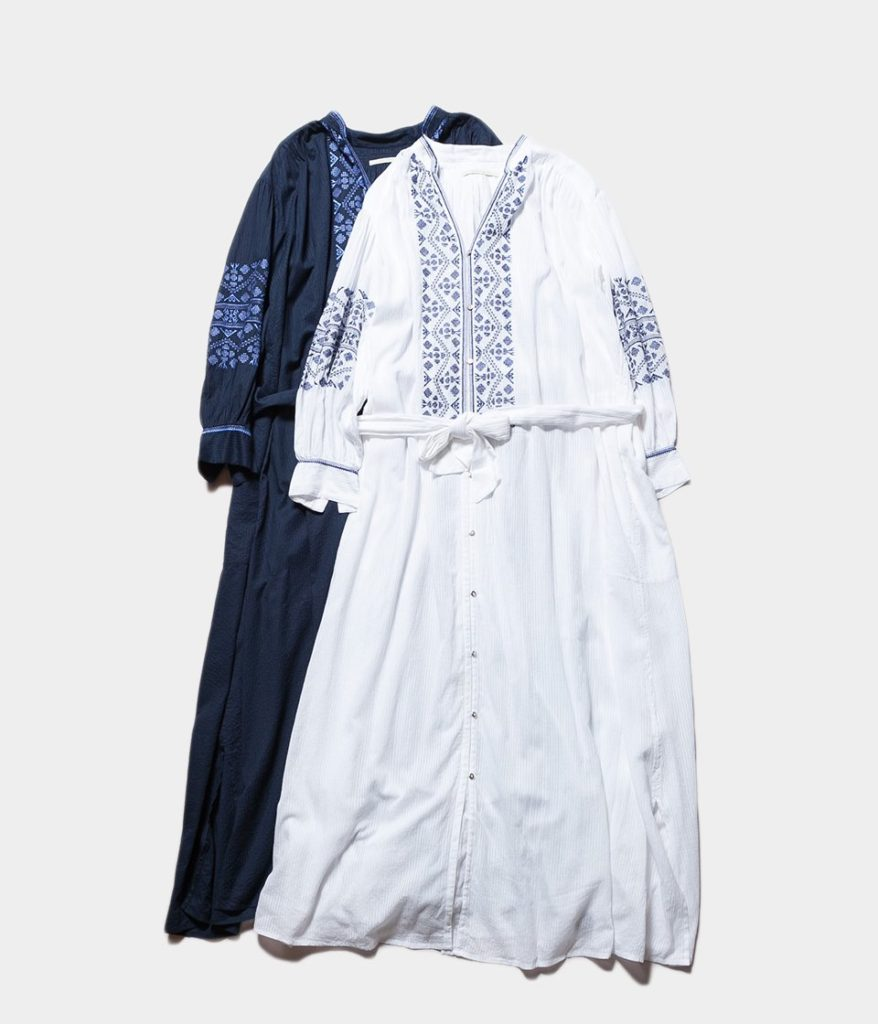 ne Quittez pas ヌキテパ Cotton Dobby Stripe Emb Dress コットンドビーストライプエンブロイダリードレス