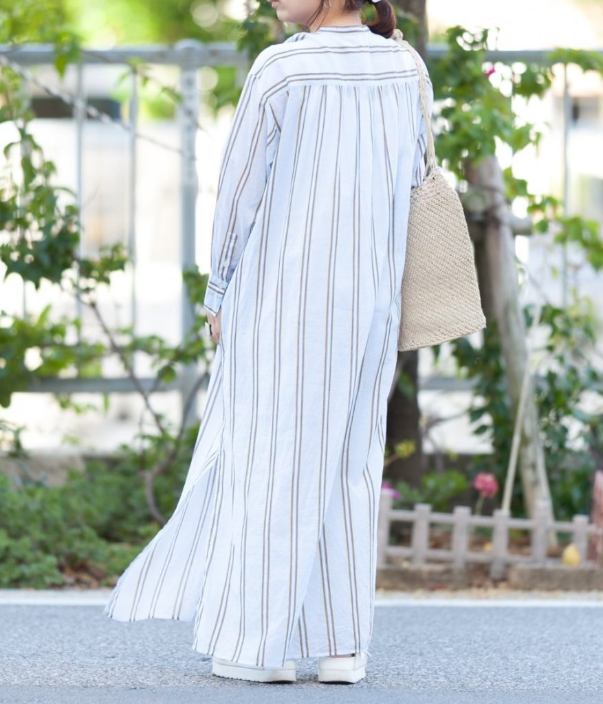 ne Quittez pas ヌキテパ Cotton Voile Stripe Kurta Dress コットンボイルストライプクルタドレス