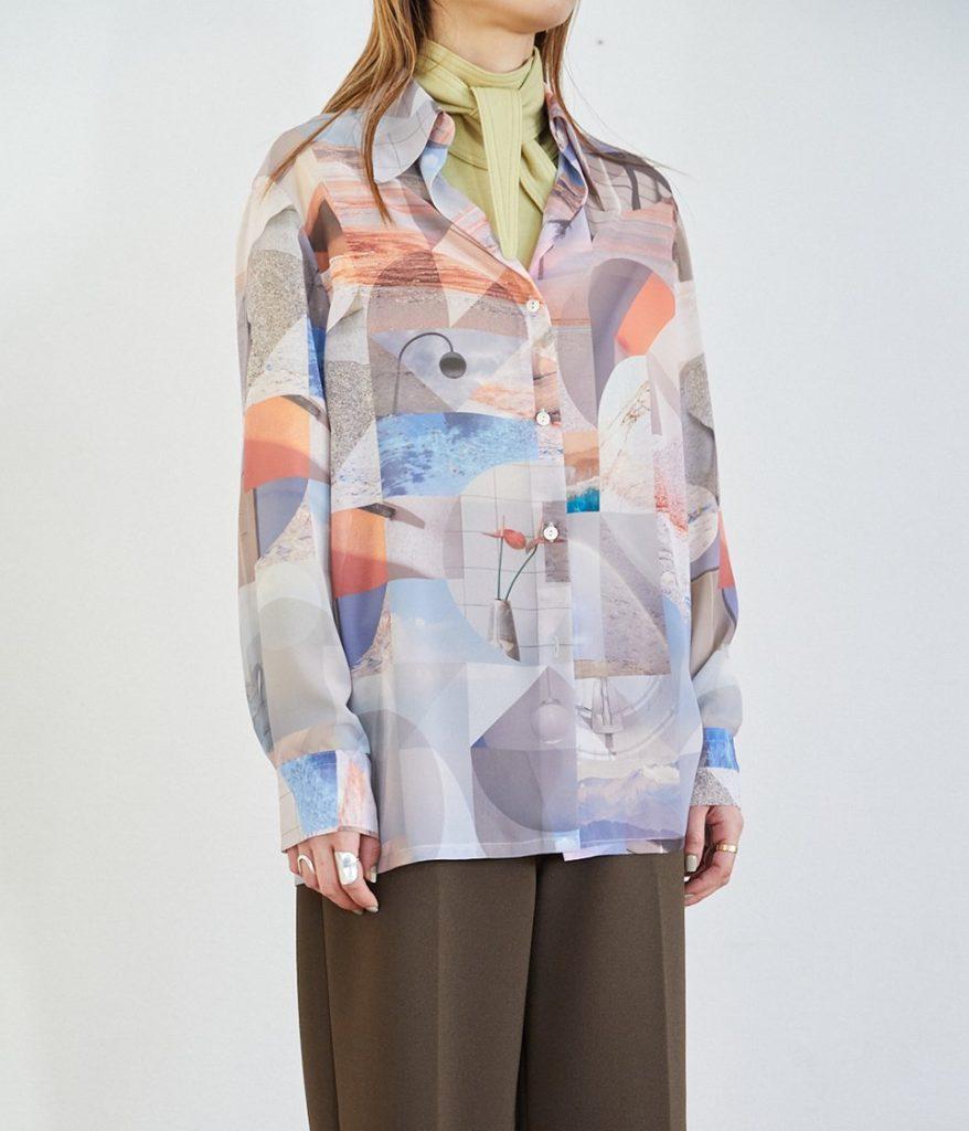 PHEENY フィーニー Print chiffon shirt プリントシフォンシャツ