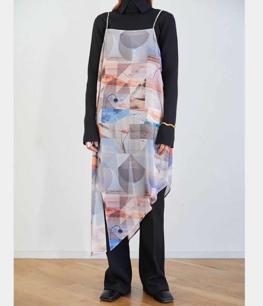 PHEENY フィーニー Print chiffon asymmetry dress プリントシフォンアシンメトリードレス