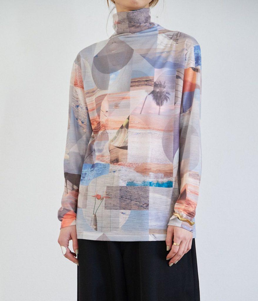 PHEENY フィーニー Print drape neck プリントドレープネック
